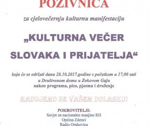 Kulturna večer Slovaka i prijatelja