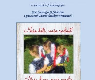 Prezentácia fotomonografie Naše deti, naša radosť