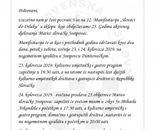 12. Slováci do Drlaku - 25 rokov MS v Josipovci
