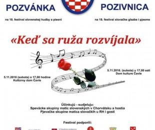 MS Rijeka: 18. festival slovenskej hudby a piesní Ked' sa ruža rozvíjala