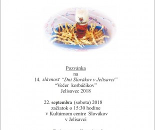 Dni Slovákov - Večer korbáčikov v Jelisavci 2018