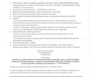 Poziv na dostavu ponuda nabave i izvođenja građevinsko-zanatskih radova, elektrotehničkih instalacija, instalacija grijanja te radova na instalacijama vodovoda i odvodnje na objektu postojeće zgrade u Osijeku, J. J. Strossmayera 2